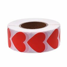 1-3/16 inches Red Color Heart Shape Paper Adhesive Labels/ Stickers-1000pcs/Roll