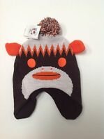 Cleveland Browns Youth Boys 8-20 POM KNIT HAT NFL Team Apparel Nit Beanie Monkey