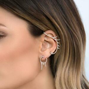 New Ear Hook Earring With Matching Stud Silver Plated Austrian Crystal