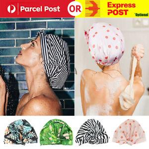 Woman Shower Cap Reusable Long Hair Large Turban Bathroom Waterproof Hair Cap OZ
