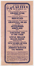 GRATEFUL DEAD Jefferson Airplane MOUNTAIN Grand Funk TYA 1970 Concert Handbill