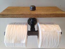 Industrial Pipe Double Toilet Paper Holder w Shelf Custom Bathroom Fixture