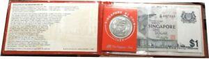 elf Singapore 2 pc Souvenir Pack National Coin Fair '88  Dollar 1984 and Note