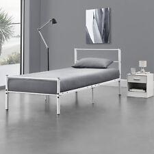 Lit en Métal 90x200cm Blanc Châlit Lit Design Chambre à Coucher Métal