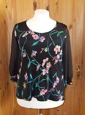 AFIBEL black chiffon pink turquoise gold purple floral 3/4sleeve tunic top 14-16