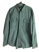 Vintage Cabelas Safari Button Down Shirt Mens XL Green Long Sleeve Cotton Euc