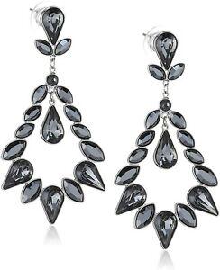 "Stunning Authentic Swarovski ""Taryn"" Jet Hemetite Earrings 1181327 New in Box"
