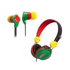 New Groov-e Rasta Canz and Rasta Budz Stereo Headphones earphones Bundle for Mp3