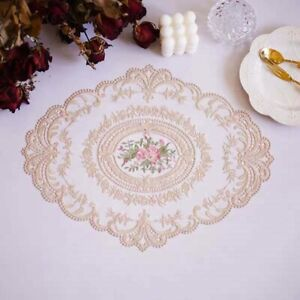 Oval Floral Lace Embroidered Placemat Doilies Table Runner Mats Cover Decor Chic