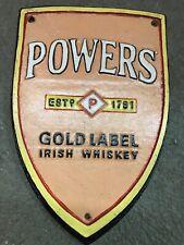 Cast Iron Gold label Irish whiskey POWERS Sign