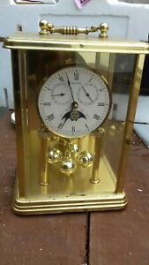 Hermle Brass And Glass Moon Phase Quartz Mantle Clock Fully Working  W German