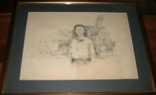 SOVIET ANTIQUE RUSSIAN UKRAINIAN DRAWING PAINTING FRAMED 1952 BAZILEV KAKHOVKA