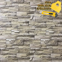 3D Stone Brick Wallpaper Background Modern Vinyl Film Sticker Wall Self-adhesive
