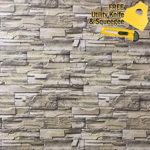 3D Stone Brick Wallpaper Background Modern Vinyl Film Sticker Wall Self-adhesive