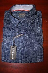 mens buffalo david bitton slim stretch dress shirt L 16 x 34/35 nwt blue pattern