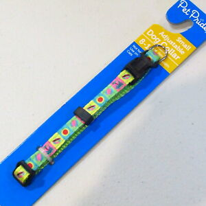 "Dog Collar SMALL Adjustable 8-14"" neck 3/8"" Wide NEON Umbrella Beachball Palm"