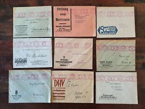 9 Geschäfts-Briefe 1930-35 aus Nürnberg mit Freistempel