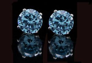 1.00 Ct Blue Diamond Pair Earrings in 10k White Gold