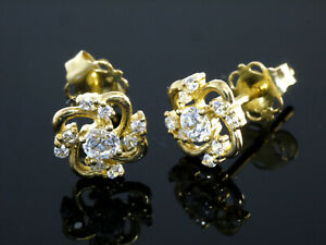 333 Gold kleine Spiralen  Ohrstecker 1 Paar 6,3 mm Größe Zirkonia Steine