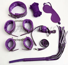 7 Pcs Plush Bed Restraint Purple Set Collar Whip Ball Gag Cuffs Rope Fetish Toy