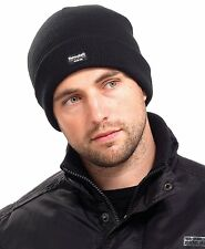 Mens Ladies Adult Winter Thermal Thinsulate Knitted Black Beanie Hat One Size
