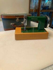 Vintage Necchi Toy Size Sewing Machine in Case. Salesman Sample. Works
