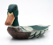 More details for a charming hand carved & painted wooden tray in the form of a mallard duck