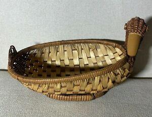 Vintage Rattan Wicker Duck Drake Planter Basket Plastic for Insert Boho