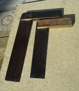 Vintage Retro Carpenters/Engineers Set Square Bundle Wooden/Brass Handle Patina