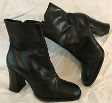 Barratts Black Ankle Leather Lovely Boots Size 6 (781vv)