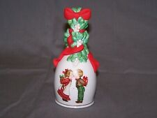 "Avon 1989 Porcelain Christmas Bell ""Under the Mistletoe"""
