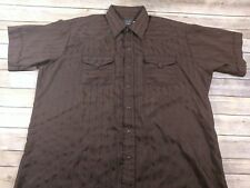 Panhandle Slim Mens sz 18 XL S/S Pearl Snap Brown Striped Western Shirt      A3