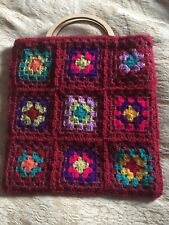 Hand Crochet Granny Square Craft Bag / Fully Lined With Wood Effect Handles