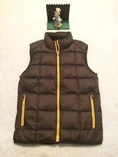 Eddie Bauer Men's Brown Goose Down Full Zip Up Puffer Vest Size Small New