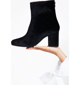 $168 Free People Cecile Velvet Bootie SZ 9/39 BLACK Wrapped Block Heel Boots