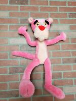 """Vintage 1980 Wire Bendable Pink Panther Plush Stuffed Animal Mighty Star 25"""""""