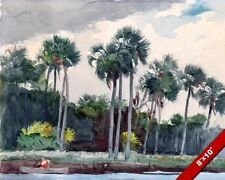 PALM TREES HOMOSASSA FLORIDA SHORE & MAN IN A BOAT PAINTING ART REAL CANVAS PRIN