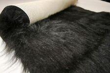 Long Pile Faux Fur Fabric Sheepskin Rug 140cm x 70cm BLACK