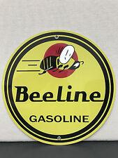 Beeline gasoline garage man cave  vintage sign baked