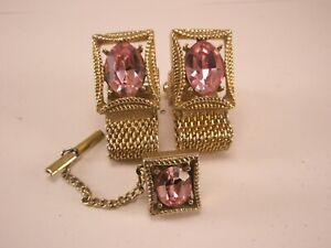-Pink Rhinestone Vintage SWANK Watchband Wraparound Cuff Links & Tie Tack set