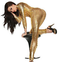 Plus 3XL Size Women's Hollow Out PVC Leather Catsuit Party Dress  Fancy Costume
