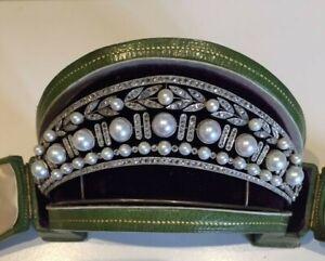 White Gold Plated Leaf Design Shell Pearl & Diamond Handmade Tiara Wedding Jewel