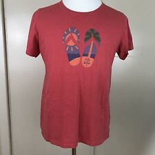 Life is Good Large Pink Flip Flop Print Short Sleeve Womens T Shirt Tee Top EUC