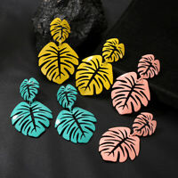 Fashion Coconut Hollow Palm Leaves Dangle Earrings Ear Drop Boho Beach Jewelry