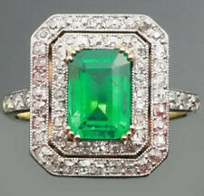 Victorian Look 925 Silver Cocktail Ring 4.25cts Rose Cut Diamond Emerald Antique