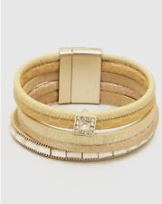 Crystal Pave Leatherette Magnetic Clasp Bracelet - Gold