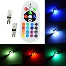 2X T10 RGB LED Car Interior Dome Reading Light Lamp Bulb + Remote Control