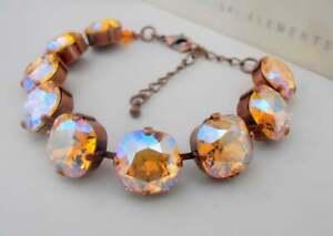 Topaz Shimmer Antique Copper Cushion Cut Tennis Bracelet w/ Swarovski Crystals