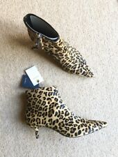 Zara Leopard Print Cow Fur Leather Kitten Heel Ankle Boots UK5 EU38 US7.5 # 550