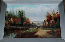 """1800 ENGLISH/DUTCH OIL PAINTING """"COUNTRY ROAD & VILLAGE"""" by R. VALTEN (Jos)"""